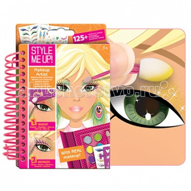 Wooky Style Me Up Блокнот визажистаStyle Me Up Блокнот визажистаWooky STYLE ME UP 1478 Блокнот визажиста.  Wooky Entertainment – это совершенный дизайн и всегда творческий подход. Их кредо – создавать передовые инновационные продукты, исходя из последних мировых тенденций. Wooky Europe является европейским партнером по маркетингу и дистрибуции всех брендов Wooky с офисами в Нидерландах, Великобритании и Германии.  В серии Style Me Up! есть и блокнот визажиста с косметикой, зеркальцем и кисточкой в комплекте. С этим блокнотом девочка освоит азы макияжа, ведь внутри есть инструкции и примеры создания макияжа для различных типов внешности. На рабочих страницах их всего 25 иллюстрации портретов девушек - 5 типов по 5 страниц - у них разные прически, разный цвет волос, лица и глаз.  Блокнот Визажиста сделан в формате органайзера, в твердой обложке и с магнитной застежкой, какие обычно бывают на дамских клатчах. Выглядит ярко и стильно, переплет блокнота выполнен на широкой пружине, благодаря чему страницы очень удобно переворачивать.  С таким блокнотом ваша девочка ни где не заскучает, и сразу найдет себе подруг! Вернее они найдут ее, завидев такое интересное занятие. С ним можно увлеченно и с пользой провести время в любой ситуации - на переменке, в окошке между занятиями, в дороге. С блокнотом девочка почувствуете себя настоящим визажистом, раскрашивая, обводя трафареты, и украшая моделей на его страницах!  В блокнот визажиста входят: цветные страницы с портретами девушек 25 страниц косметика - 5 цветов теней, серебристые блестки для лица, 3 цвета помады, двухсторонняя кисточка зеркальце на случай, если девочка захочет сделать макияж себе. Косметика настоящая, безопасная. трафареты с мелкими узорами для нанесения рисунков на лице и волосах 1 лист, наклейки более 120 штук - серьги, ресницы, небольшие изящные узоры для завершения образа инструкция и коллекция идей для визажиста.<br>
