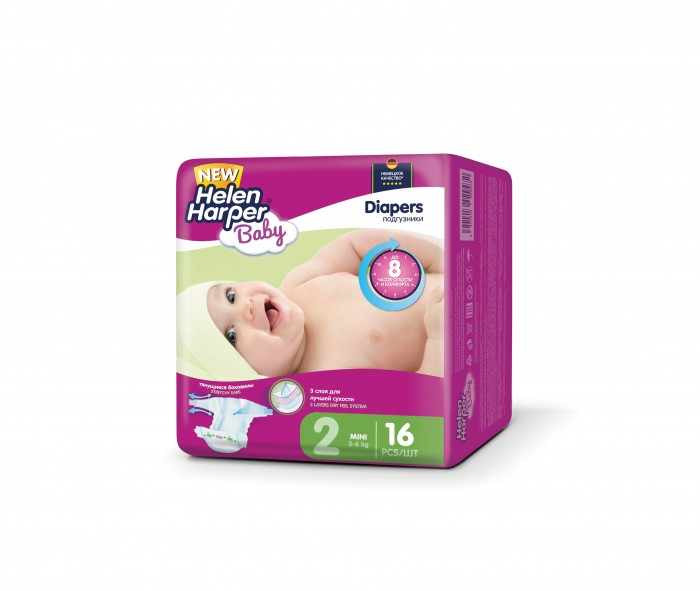 Helen Harper Подгузники Baby Mini (3-6 кг) 16 шт.