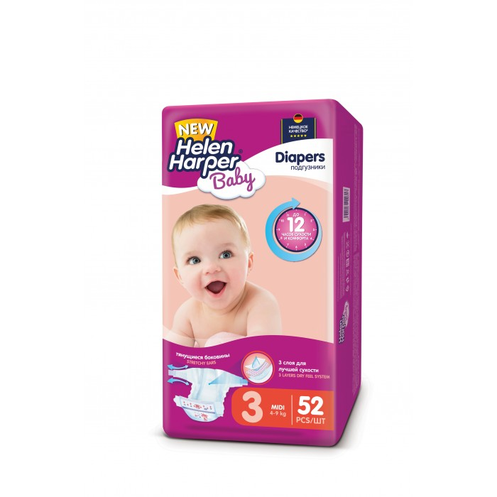 Helen Harper Подгузники Baby Midi (4-9 кг) 52 шт.