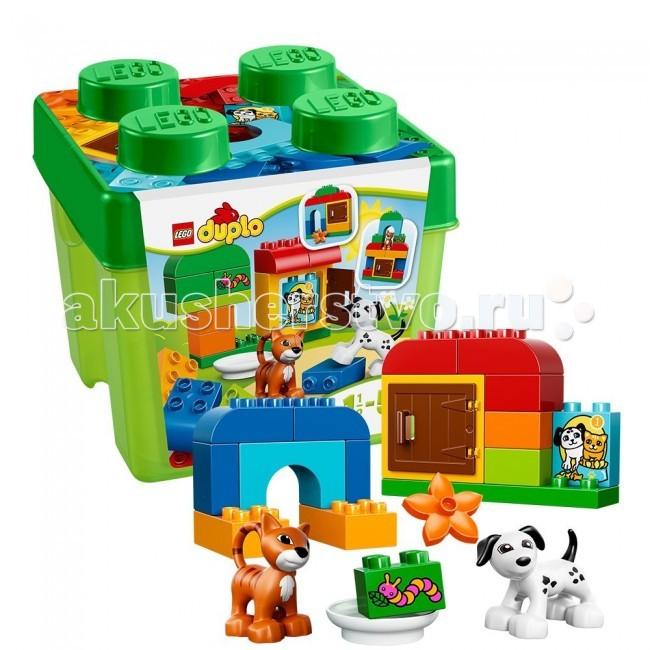Конструктор Lego Duplo 10570 Лего Дупло Лучшие друзья: кот и песDuplo 10570 Лего Дупло Лучшие друзья: кот и песКонструктор Lego Duplo 10570 Лего Дупло Лучшие друзья: кот и пес собирается из 30 элементов, включает фигурки кошечки и собачки.  Построй уютные домики для домашних животных с этим подарочным набором от LEGO DUPLO!  Кот и пес - верные спутники человека, у них тоже должен быть свой уютный домик.  Помоги им и собери каждому по маленькой конуре, а рядом посади дерево или построй большой дом.  Твоя фантазия ничем не ограничена!  И не забудь покормить новых друзей, положив специальный корм в мисочку!  В набор входит: фигурки пса и кота специальные элементы и аксессуары - открывающаяся дверь, миска, цветочек, кубики с кормом и гусеницей. Особенности конструктора Lego Duplo 10570: Конструктор упакован в твердую подарочную упаковку.  Количество деталей: 30 шт.<br>