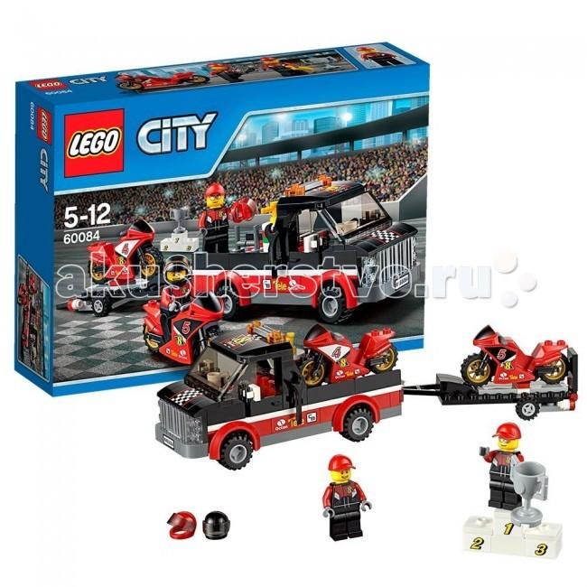 Конструктор Lego City 60084 Лего Город Перевозчик гоночных мотоцикловCity 60084 Лего Город Перевозчик гоночных мотоцикловКонструктор Lego City 60084 Лего Город Перевозчик гоночных мотоциклов собирается из 178 деталей, включая 2 минифигурки.  Команда гонщиков направляется на стадион на финал чемпионата по мотогонкам! Присоединяйся к асам, садись на превосходный перевозчик их высокоскоростных гоночных мотоциклов.  Когда приедете на стадион, помоги выгрузить мотоциклы и отправляйся на круг. Толпа в восторге, это будет небывалая гонка.  Кто займет верхнюю ступень пьедестала и поднимет кубок чемпионата?  В набор входит: 2 минифигурки гонщиков большой пикап с местом для мотоцикла прицеп для перевозки 2 спортбайка подиум и кубок 2 гоночных шлема. Количество деталей: 178 шт.<br>