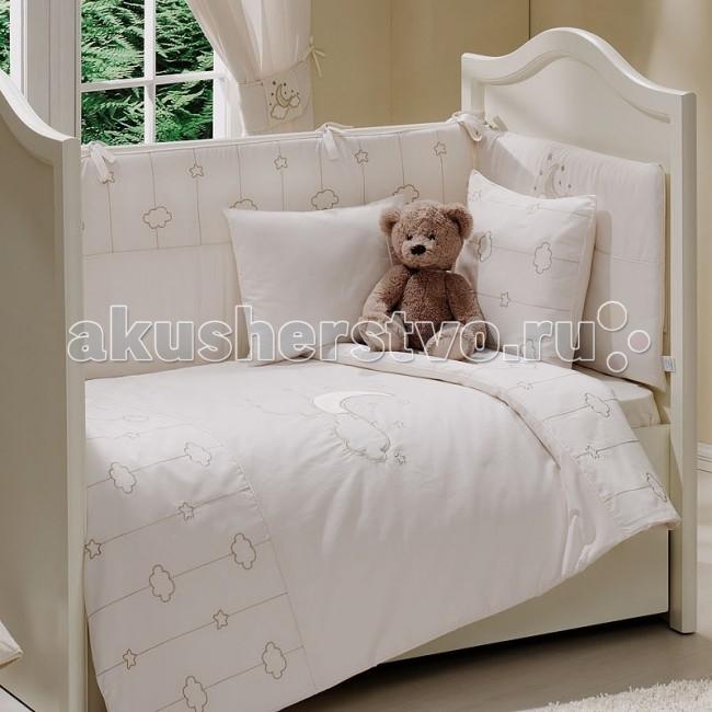 Комплект в кроватку Funnababy Luna Elegant 140х70 (5 предметов)Luna Elegant 140х70 (5 предметов)Комплект для кроватки Funnababy Luna Elegant - высококачественное белье, которое изготавливается из 100% хлопка с наполнителем: силикон.   На мягкой ткани цвета слоновой кости золотистыми нитями вышиты рисунки полумесяца, облаков и звёздочек, завершает внешний облик тематический орнамент. Коллекция Funnababy Luna Elegant словно воплощает в себе романтику и умиротворённость ночного неба, а тёплые тона добавят ощущение комфорта.   В комплекте:  Пододеяльник - 100х130 см.  Одеяло - 100х130 см.  Бампер из 4 частей на 140х70 см.  Простынка на резинке 140х70 см.  Наволочка - 40х60 см.   Особенности:   комплект постельного белья в детскую кроватку из натурального хлопка  постельное белье подойдёт для детской кроватки размером 125х65 см  в дизайне используется авторская вышивка и декоративное шитьё  спокойные и приятные цвета ткани с забавными рисунками не будут раздражать и утомлять глазки вашего ребёнка  нежные и мягкие материалы не будут раздражать нежную кожу ребёнка и не доставят ему неудобства  постельный комплект изготовлен из натуральных и гипоаллергенных тканей, которые создают комфортные условия для спокойного сна Вашего ребёнка  для наполнения защитного бампера, одеяла и подушки используется только экологически чистый наполнитель  данный комплект имеет 4-х сторонний защитный бампер, который защищает Вашего малыша по всему периметру кроватки  простынь с резинкой, которая помогает надежно закрепить ее на матрасе  белье легко стирается в режиме деликатной стирки при температуре 30&#186;С  комплект постельного белья сертифицирован и абсолютно безопасен для новорождённого малыша<br>