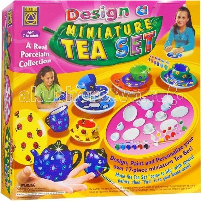 Creative Набор Украшаем чайный сервизНабор Украшаем чайный сервизCREATIVE 5350 Украшаем чайный сервиз.  Израильская компания Creative занимается производством игрушек для детского творчества уже не один десяток лет, её продукция приобрела известность и популярность во многих странах мира. Над разработкой, концепцией и дизайном выпускаемых игрушек работает целая группа психологов, преподавателей и учёных.   Каждая игрушка или набор производится из высококачественных материалов и при помощи самых современных технологий. В то же время тщательно соблюдаются все требования к безопасности игрушек при их использовании. Продукция компании Creative создана, чтобы помогать ребёнку развиваться в интеллектуальном плане, а также получать удовольствие от игры.   Набор для творчества Украшаем чайный сервиз поможет вашему ребенку придумать, создать и раскрасить свою посуду для завтрака.  В набор входит: 4 чашечки 4 блюдца 4 тарелочки для сладостей заварочный чайник сахарница с крышкой ваза для сладостей молочник краски 12 цветов белый, зеленый, сиреневый, черный, коричневый, синий, салатовый, розовый, красный, оранжевый, желтый и голубой кисточку детальную инструкцию с иллюстрациями.<br>