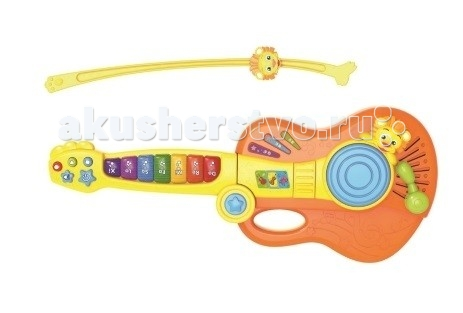Музыкальная игрушка Royalcare ГитараГитараМузыкальная игрушка Royalcare Гитара из экологически чистого пластика. Работает от батареек.   В комплекте с гитарой идет смычок. Является детской версией гитары, а переключение режимов (гитара, пианино, скрипка) и яркие крупного размера клавиши позволят ребенку дать волю своей музыкальной фантазии, а так же положительно влияют на развитие моторики.<br>