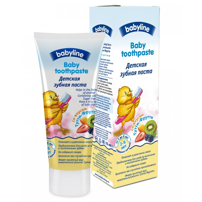 Babyline Детская зубная паста со вкусом Тутти-Фрутти 75 мл от 2-6 лет
