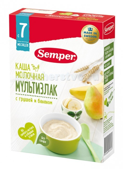 Semper Молочная каша мультизлак с грушей и бананом с 7 мес. 200 г