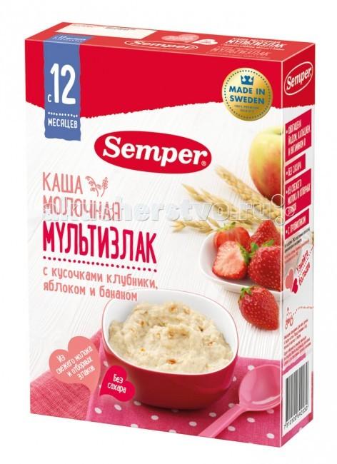 Semper Молочная каша мультизлак с кусочками клубники, яблоком и бананом с 12 мес. 200 г