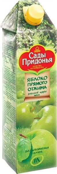 Сады Придонья Сок яблочный прямого отжима с 3 лет. 1 л