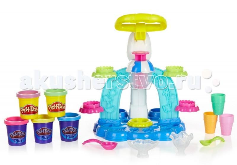 Play-Doh Hasbro Игровой набор Фабрика Мороженого B0306HHasbro Игровой набор Фабрика Мороженого B0306HС новым набором пластилина Play-Doh Фабрика мороженого от Hasbro ваши детки смогут создавать еще больше самого популярного во всем мире детского лакомства! Теперь делать мороженое стало еще интереснее и веселее!   С набором пластилина Фабрика мороженого можно по-прежнему делать свое любимое мороженое: в вафельном стаканчике или креманках, а при помощи украшений делая из обычного мороженого настоящую мечту юного сластены!  Вместе с установкой по изготовлению мороженого и различных украшений к нему в наборе пять баночек пластилина: две баночки оригинального пластилина Плей-До и три баночки пластилина Play-Doh PLUS.  Для начала нужно поместить пластилин в специальный отсек, после чего опустить ручку-пресс и несильно надавить на нее. Перед изготовлением мороженого не стоит забывать подставить формочку в нишу. К мороженому можно делать небольшие кексики или украшения в виде ягод, конфет, фруктов и крендельков, которые нужно будет выдавливать в формочках, размещенных по всему корпусу игрушки. Дав волю своей фантазии и творчеству, ваш ребенок сможет создавать самые невообразимые виды мороженого, смешивая, казалось бы, несовместимые ингредиенты. Даже если ребенок не сможет удержаться от соблазна и решит попробовать на вкус такое красивое мороженое, волноваться не стоит, потому как пластилин Плей-До совершенно безопасен для здоровья, сделан на пищевой основе и безопасных красителей.  В наборе: установка для создания мороженого PLAY-DOH (в разобранном виде); 2 блюдечка-креманки; 2 совочка-ложечки; 3 стаканчика; 5 баночек пластилина (2 - Play-Doh, 3 - Play-Doh PLUS).   Характеристики: Набор выполнен из пластика высокого качества и пластилина. Размеры упаковки (коробки): 30.5 х 7.9 х 22.9 см.  Масса пластилина: 196 г.<br>
