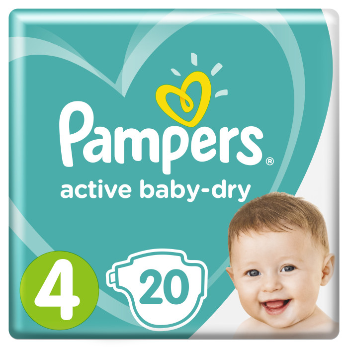 Pampers Подгузники Active Baby Стандарт р.4 (8-14 кг) 20 шт.Подгузники Active Baby Стандарт р.4 (8-14 кг) 20 шт.Ух ты, как сухо! А куда исчезли все пи-пи?   Вы готовы к революции в мире подгузников? Как только вы начнете использовать Pampers active baby-dry, вы убедитесь, что они отличаются от наших предыдущих подгузников. Революционная технология помогает распределять влагу равномерно по 3 впитывающим каналам и запирать ее на замок, не допуская образование мокрого комка между ножек по утрам. Эти подгузники настолько удобные и сухие, что вы удивитесь, куда делись все пи-пи!  Pampers Подгузники Active Baby Стандарт имеют ряд преимуществ: 3 впитывающих канала: помогают равномерно распределить влагу по подгузнику, не допуская образование мокрого комка между ножек. Впитывающие жемчужные микрогранулы: внутренний слой с жемчужными микрогранулами, который впитывает и запирает влагу до 12 часов. Слой DRY: впитывает влагу и не дает ей соприкасаться с нежной кожей малыша. Мягкий, как хлопок, верхний слой: предотвращает контакт влаги с кожей малыша, для спокойного сна на всю ночь. Дышащие материалы: обеспечивают циркуляцию воздуха внутри подгузника. Тянущиеся боковинки: для комфортного использования и защиты от протеканий.<br>