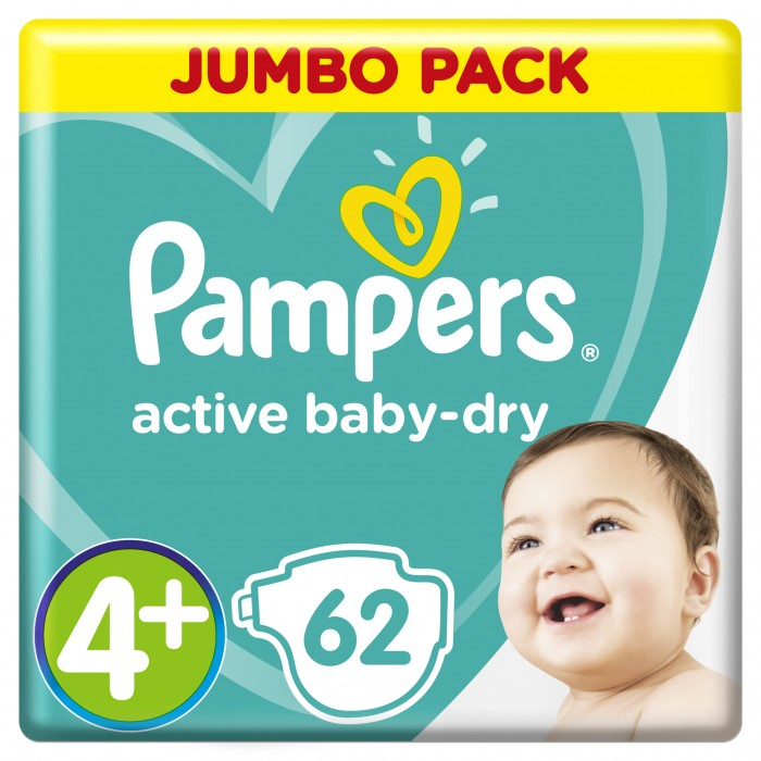 Pampers Подгузники Active Baby Джамбо р.4+ (9-16 кг) 62 шт.Подгузники Active Baby Джамбо р.4+ (9-16 кг) 62 шт.Ух ты, как сухо! А куда исчезли все пи-пи? Вы готовы к революции в мире подгузников? Как только вы начнете использовать Pampers active baby-dry, вы убедитесь, что они отличаются от наших предыдущих подгузников. Революционная технология помогает распределять влагу равномерно по 3 впитывающим каналам и запирать ее на замок, не допуская образование мокрого комка между ножек по утрам. Эти подгузники настолько удобные и сухие, что вы удивитесь, куда делись все пи-пи!  Pampers Подгузники Active Baby Джамбо имеют следующие преимущества: 3 впитывающих канала: помогают равномерно распределить влагу по подгузнику, не допуская образование мокрого комка между ножек. Впитывающие жемчужные микрогранулы: внутренний слой с жемчужными микрогранулами, который впитывает и запирает влагу до 12 часов. Слой DRY: впитывает влагу и не дает ей соприкасаться с нежной кожей малыша. Мягкий, как хлопок, верхний слой: предотвращает контакт влаги с кожей малыша, для спокойного сна на всю ночь. Дышащие материалы: обеспечивают циркуляцию воздуха внутри подгузника. Тянущиеся боковинки: для комфортного использования и защиты от протеканий.<br>