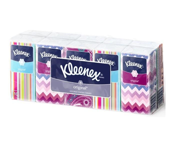 Kleenex Салфетки Original 10 шт.Салфетки Original 10 шт.Kleenex Салфетки Original из 100% целлюлозы. Бумага отличается великолепной белизной, мягкостью и прочностью. Три нежнейших по структуре слоя носовых платков мгновенно впитывают влагу.  10 пачек по 10 платочков.<br>