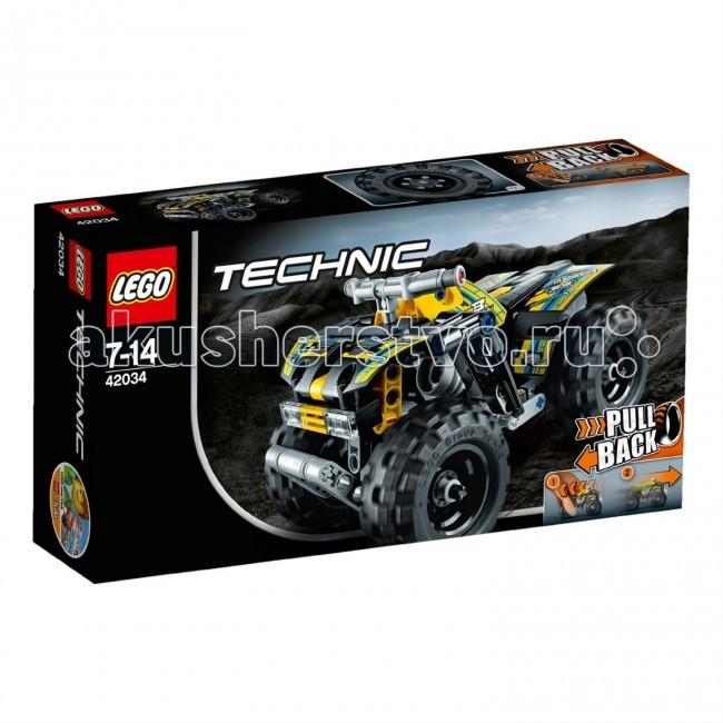 Конструктор Lego Technic 42034 Лего Техник КвадроциклTechnic 42034 Лего Техник КвадроциклКонструктор Lego Technic 42034 Лего Техник Квадроцикл собирается из 148 деталей.   Покоряй непроходимые участки пути на прочном Квадроцикле!  Эта надежная, мощная машина отличается желто-черно-сине-серой окраской, великолепными рисунками, оснащена огромными шинами с глубоким рисунком протекторов, надежным шасси со сверхвысокими брызговиками, усиленной передней защитной дугой и мощным высокоскоростным инерционным двигателем.  Готов к лучшей в своей жизни поездке?  Яркий кузов и огромные колеса. Инерционный двигатель. Трансформируется в экстремальный внедорожник, если соединить с Лего Техник 42033 Рекордсмен. Количество деталей: 148 шт.<br>