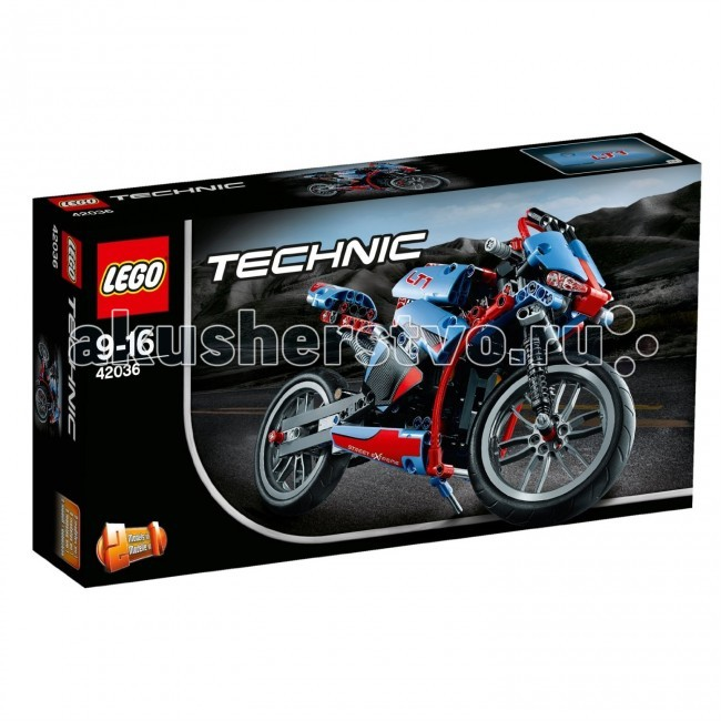 Конструктор Lego Technic 42036 Лего Техник СпортбайкTechnic 42036 Лего Техник СпортбайкКонструктор Lego Technic 42036 Лего Техник Спортбайк собирается из 375 деталей.  Прокатись на мощном спортбайке!  Эта превосходная модель обладает всеми элементами настоящего мотоцикла, включая обтекатель, надежную переднюю и заднюю подвеску, цепную передачу, работающее рулевое управление, откидную подножку, детально выполненный двигатель с подвижными поршнями, и красно-голубую окраску.  Получи настоящее удовольствие от езды на мотоцикле!   Реалистичная модель спортбайка. Поворотное переднее колесо - как у настоящего мотоцикла! Детально выполненный двигатель с подвижными поршнями. Откидная подножка. Трансформируется в Классический Мотоцикл. Количество деталей: 375 шт.<br>