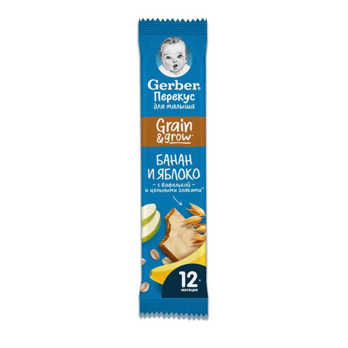 Gerber Злаковый батончик DoReMi с яблоком и бананом с 12 мес. 25 гЗлаковый батончик DoReMi с яблоком и бананом с 12 мес. 25 гGerber DoReMi Злаковый батончик с яблоком и бананом для здоровых детей после 1 года предназначен для перекусов между едой, содержит 48% фруктов, обогащен кальцием и железом и сохраняет натуральную сладость фруктов и злаков.  Без сахара. Содержит 74% фруктов. Обогащен кальцием и железом. Размер: 9х14х3  Состав: хлопья из банана (37.8%), концентрированный яблочный сок (36.6%), овсяные хлопья, кукурузные хлопья, пальмовый олеин, вафелька (картофельный крахмал, пальмовый олеин, вода), рисовая мука, мальтодекстрин, минеральные вещества.  Каждый кусочек пищи в рационе должен быть здоровым и полезным – адаптированным для малыша. В перерывах между приемами пищи предлагайте ему лёгкую и питательную закуску. Так вы сделаете его рацион более сбалансированным.   Начиная с 12 месяцев Gerber® предлагает особый ассортимент детских снэков, которые отвечают всем требованиям правильного и здорового питания. Начиная с 12 месяцев Gerber® предлагает особый ассортимент детских снэков, которые будучи фактически перекусом отвечают всем требованиям правильного и здорового питания.  Идеальной пищей для грудного ребенка является молоко матери. Продолжайте грудное вскармливание как можно дольше после введения прикорма. Необходима консультация специалиста.<br>