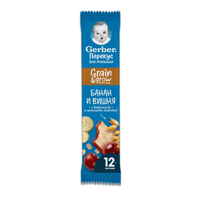 Gerber Злаковый батончик DoReMi с бананом и вишней с 12 мес. 25 гЗлаковый батончик DoReMi с бананом и вишней с 12 мес. 25 гGerber DoReMi Злаковый батончик с бананом и вишней для здоровых детей после 1 года предназначен для перекусов между едой, содержит 48% фруктов, обогащен кальцием и железом и сохраняет натуральную сладость фруктов и злаков.  Состав: хлопья из банана, концентрированный яблочный сок, концентрированный вишневый сок, овсяные хлопья, кукурузные хлопья, пальмовый олеин, вафелька, мука (овсяная, пшеничная), кальций, железо. Без сахара. Содержит 74% фруктов. Обогащен кальцием и железом. Размер: 9х14х3  Каждый кусочек пищи в рационе должен быть здоровым и полезным – адаптированным для малыша. В перерывах между приемами пищи предлагайте ему лёгкую и питательную закуску. Так вы сделаете его рацион более сбалансированным.   Начиная с 12 месяцев Gerber® предлагает особый ассортимент детских снэков, которые отвечают всем требованиям правильного и здорового питания. Начиная с 12 месяцев Gerber® предлагает особый ассортимент детских снэков, которые будучи фактически перекусом отвечают всем требованиям правильного и здорового питания.  Идеальной пищей для грудного ребенка является молоко матери. Продолжайте грудное вскармливание как можно дольше после введения прикорма. Необходима консультация специалиста.<br>