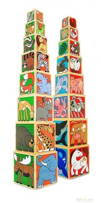 Деревянная игрушка Melissa & Doug Деревянные кубики Животные