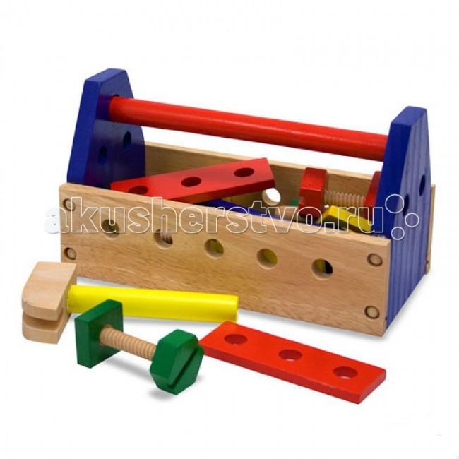 Деревянная игрушка Melissa &amp; Doug Набор инструментов 494MНабор инструментов 494MДеревянная игрушка Melissa & Doug Набор инструментов 494M - яркие деревянные инструменты уложены в удобный ящик с ручкой.   В наборе есть все что нужно для маленького хозяина:  отвертка гвозди болты гайки молоток и многое другое всего 24 предмета.<br>