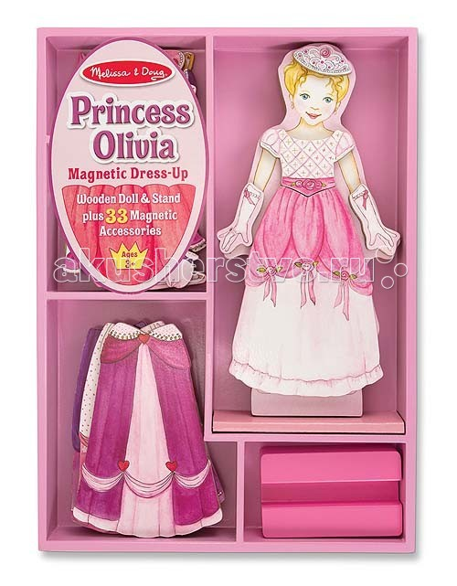 Melissa &amp; Doug Магнитные игры Одень принцессу ОливиюМагнитные игры Одень принцессу ОливиюMelissa & Doug Магнитные игры Одень принцессу Оливию - превосходный комплект сказочных нарядов, предназначенных для принцессы Оливии. Все детали комплекта оснащены с обратной стороны магнитом, благодаря чему все платья и юбки легко одеваются на принцессу.   Играя в набор, Ваш малыш обучится: проявит усидчивость и аккуратность обучится элементарному счету научится координировать свои движения научится различать цвета разовьет свою фантазию.  Все детали аккуратно вырезаны, качественно обработаны и окрашены, что делает игрушку максимально безопасной.<br>