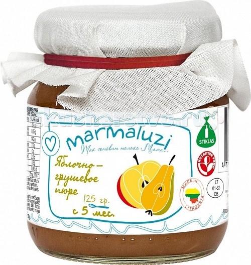Marmaluzi Пюре яблочно-грушевое с 5 мес. 125 гПюре яблочно-грушевое с 5 мес. 125 гMarmaluzi Пюре яблочно-грушевое изготавливается из сладких яблок и груш высшего сорта, выращенных на экологически-чистых Литовских фермерских хозяйствах и обладает прекрасным нежным вкусом и легкой консистенцией.   Натурально сладкое пюре рекомендуется давать после основного питания, небольшими порциями в качестве десерта.   Особенности: 100% натуральный продукт  без ароматизаторов, красителей и консервантов - без глютена  без добавления соли, крахмала, сахара  без ГМО  продукт готов к употреблению  рекомендуется начинать кормление с 1 чайной ложки, постепенно увеличивая к 12 месяцам до 100 г в день   Состав: тертые яблоки 80%, тертые груши 20 %, витамин С.<br>