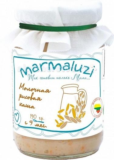 Marmaluzi Пюре каша молочная рисовая с 9 мес. 190 гПюре каша молочная рисовая с 9 мес. 190 гMarmaluzi Пюре каша молочная рисовая сытная кашка с натуральным коровьим молоком и сливочным маслом из экологически-чистых Литовских фермерских хозяйств идеально подходит для введения прикорма детям с 9-ти месяцев.   В составе содержится натуральный сахар и лактоза.   Эту кашу рекомендуем в качестве одного из первых блюд.   Без клейковины.  Особенности: 100% натуральный продукт  без ароматизаторов, красителей и консервантов - без глютена  без добавления соли, крахмала  без ГМО  продукт готов к употреблению  рекомендуется начинать кормление с 1 чайной ложки, постепенно увеличивая к 12 месяцам до 100 г в день   Состав: вода, молоко 27%, хлопья рисовые 12%, морковь 9%, масло сливочное 0.8 %.<br>