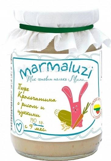 Marmaluzi Пюре крольчатина с рисом и цуккини с 9 мес. 190 гПюре крольчатина с рисом и цуккини с 9 мес. 190 гMarmaluzi Пюре крольчатина с рисом и цуккини - это вкусное сытное пюре из диетического мяса кролика, риса и нежного цуккини идеально сбалансировано для питания детей с 9 месяцев.   Особенности: 100% натуральный продукт  без ароматизаторов, красителей и консервантов - без глютена  без добавления соли, крахмала, сахара  без ГМО  продукт готов к употреблению  рекомендуется начинать кормление с 1 чайной ложки, постепенно увеличивая к 12 месяцам до 100 г в день   Состав: вода, крольчатина 12%, хлопья рисовые 10%, цуккини 7%, морковь 6%, рапсовое масло 1.3%, укроп.<br>