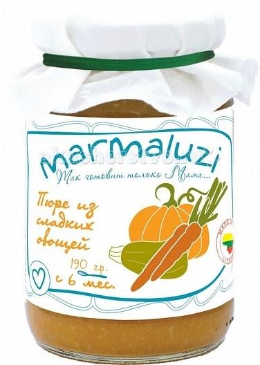 Marmaluzi Пюре из сладких овощей с 6 мес. 190 гПюре из сладких овощей с 6 мес. 190 гMarmaluzi Пюре из сладких овощей изготовлено из сочных натуральных овощей, выращенных на экологически-чистых Литовских фермерских хозяйствах: тыквы, цуккини, картофеля и моркови.   В составе содержится только натуральный сахар.  Особенности: 100% натуральный продукт  без ароматизаторов, красителей и консервантов - без глютена  без добавления соли, крахмала, сахара  без ГМО  продукт готов к употреблению  рекомендуется начинать кормление с 1 чайной ложки, постепенно увеличивая к 12 месяцам до 100 г в день   Состав: тыква 30%, цуккини 25%, картофель 20%, вода, морковь 3,5%, рапсовое масло 1,2%.<br>