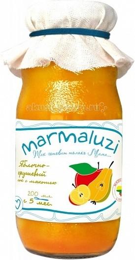 Marmaluzi Сок яблочно-грушевый с мякотью с 5 мес. 200 млСок яблочно-грушевый с мякотью с 5 мес. 200 млMarmaluzi Сок яблочно-грушевый с мякотью с нежным вкусом изготовлен из садовых сладких яблок и груш, выращенных в экологически-чистых Литовских фермерских хозяйствах.   Сок не только освежит, утолит жажду, но и обеспечит хорошее самочувствие, так как богат витаминами С,Е и К. Полезный для здоровья и натуральный сок подходит младенцам, детям и взрослым.   Особенности: 100% натуральный продукт  без ароматизаторов, красителей и консервантов  без глютена  без добавления соли, крахмала, сахара  без ГМО  продукт готов к употреблению<br>