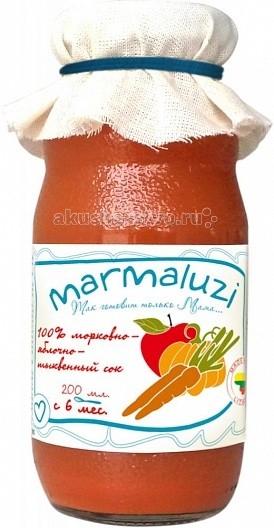 Marmaluzi Сок морковно-яблочно-тыквенный с 6 мес. 200 млСок морковно-яблочно-тыквенный с 6 мес. 200 млMarmaluzi Сок морковно-яблочно-тыквенный с нежным вкусом изготовлен из садовых сладких яблок, моркови и тыквы, выращенных в экологически-чистых Литовских фермерских хозяйствах.   Ежедневное употребление овощных соков помогает укрепить зрение, иммунную систему ребенка, наладить пищеварение.   Особенности: 100% натуральный продукт  без ароматизаторов, красителей и консервантов  без глютена  без добавления соли, крахмала, сахара  без ГМО  продукт готов к употреблению  Состав: сок морковный 50 %, сок яблочный 30 %, сок тыквенный 20 %.<br>