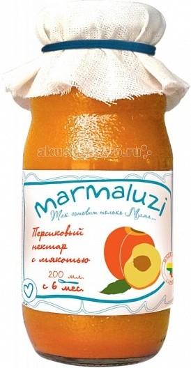 Marmaluzi Напиток персиковый сокосодержащий с мякотью с 6 мес. 200 млНапиток персиковый сокосодержащий с мякотью с 6 мес. 200 млMarmaluzi Напиток персиковый сокосодержащий с мякотью с натуральным персиковым нектаром обладает очень нежным вкусом и приятной консистенцией.   В персиковом нектаре содержится особенно много калия, бета-каротина, железа, витаминов С и В, сок прекрасно освежает и утоляет жажду.   Особенности: 100% натуральный продукт  без ароматизаторов, красителей и консервантов  без глютена  без добавления соли, крахмала, сахара  без ГМО  продукт готов к употреблению  Состав: вода, концентрированное персиковое пюре 50%, фруктозо-глюкозный сироп, регулятор кислотности, концентрированный лимонный сок.<br>