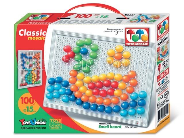 ToysUnion Мозаика Классика 100 элементов d.15, малая платаМозаика Классика 100 элементов d.15, малая платаМозаика TOYSUNION 00-321 Классика 100 эл. d.15, малая плата.  Мозаика TOYSUNION Надежные друзья – яркая, увлекательная, развивающая игра для детей от 3-х лет и старше. Разноцветная мозаика просто незаменима для любого малыша! Это не просто игра, это своего рода волшебство, в процессе которого из множества разноцветных деталей формируются и закрепляются на поверхности изображения предметов окружающего мира, вымышленных персонажей или целые сюжетные композиции.   Во время игры с мозаикой у детей развиваются творческие способности, воображение, координация и моторика движений рук. Рисунки, представленные в качестве образцов, являются только примером, так как эта универсальная мозаика раскрывает перед ребенком неограниченные возможности моделирования и создания множества своих собственных рисунков.  В комплект входят: 100 ФИШЕК. Игра комплектуется фишками 6 цветов округлой формы, которые удобно и приятно держать в руках, поэтому с ними справится даже самый крохотный малыш. Фишки &#248; 15 мм рассчитаны на самых маленьких игроков ПЛАТА 115x162 мм. Все фишки легко крепятся и легко снимаются с игрового поля – платы, которая позволяет малышу не ограничивать свои движения при складывании мозаики. Ее оригинальная конструкция предотвращает выпадение фишек при переворачивании или переноске собранной картинки Элементы мозаики сделаны из легкого, небьющегося, легко моющегося, высококачественного материала, абсолютно безопасного для здоровья ребенка. Предложите ребенку различные варианты игры. Для развития разных навыков и способностей Вашего ребенка вы можете предложить ему задачи более сложные – посчитать количество фишек, которое ему понадобилось для составления собранной мозаики – общее или по отдельным цветам. Чтобы развивать у ребенка навык соотнесения цвета и детали, предложите ему собрать одну деталь композиции фишками определенного цвета. Такой подход позволит малышу 