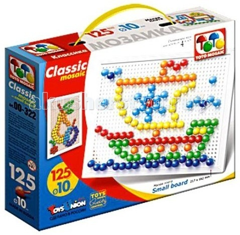 ToysUnion Мозаика Классика 125 элементов d. 10, малая платаМозаика Классика 125 элементов d. 10, малая платаМозаика TOYSUNION 00-322 Классика 125 эл. d. 10, малая плата.  Мозаика - замечательная игрушка для ребенка, начиная от года. Детская мозаика тренирует мелкую моторику пальчиков малыша, а создание различных изображений развивает фантазию и воображение. Мозаика знакомит детей с понятием цвета и количества. В данном наборе представлена мозаика 125 фишек / 6 цветов. Упаковка: пластмассовая коробка.<br>