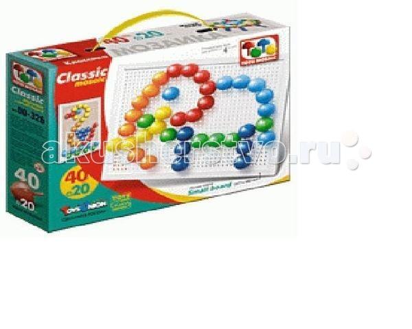 ToysUnion Мозаика Классика 40 элементов d. 20, малая платаМозаика Классика 40 элементов d. 20, малая платаМозаика TOYSUNION 00-326 Классика 40 эл. d. 20, малая плата.  ToysUnion Необыкновенные приключения 00-326 - это классическая мозаика, которая оснащена малой платой размером 217 x 162 мм и разноцветными фишками диаметром 20 мм. Играя в неё, ребенок может создавать различные изображения. Она развивает мелкую моторику, цветовое восприятие, усидчивость, воображение и фантазию. Модель предназначена для детей от 3-х лет. Мозаика знакомит детей с понятием цвета и количества. В данном наборе представлена мозаика 40 фишек / 6 цветов.<br>