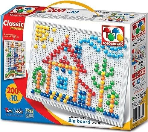 ToysUnion Мозаика Классика 200 элементов d. 10 большая платаМозаика Классика 200 элементов d. 10 большая платаМозаика TOYSUNION 00-332 Классика 200 эл.d. 10 большая плата.  Данная мозаика представлена на большой игровой плате, рассчитанной на размещение 200 фишек шести цветов. Мозаика – это самая полезная и увлекательная игра для ребёнка, которому уже исполнилось три года. Ведь именно играя с мозаикой, ребёнок сможет развить в себе воображение, усидчивость, мелкую моторику рук, фантазию, терпимость, а также цветовое восприятие и творческую активность. К тому же мозаика сможет познакомить вашего ребёнка с понятием количества и цвета.  В данный набор входит игровая шестигранная плата и 200 фишек шести цветов. Набор упакован в прочную картонную коробку. Размер набора составляет 280х197 мм. Игрушка рекомендована для детей в возрасте от трёх лет. Диаметр фишек: 10 мм<br>