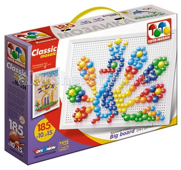 ToysUnion Мозаика Классика 185 элементов d. 10,15 большая платаМозаика Классика 185 элементов d. 10,15 большая платаМозаика TOYSUNION 00-334 Классика 185 эл. d. 10,15 большая плата.  Мозаика на большой плате Русский стиль - это творческая развивающая игра для детей от 2-х лет. Мозаика состоит из 185 элементов, в комплекте элементы двух размеров - диаметром 10 и 15 мм. Рисунок, указанный на коробке - это лишь пример для начала игры, ребенок может сам создавать любые творения.  Оригинальная конструкция платы позволяет легко вставлять и фиксировать фишки, предотвращая их выпадение при переворачивании и переносе собраной картинки. Игра в мозаику развивает у ребенка творческие способности, мелкую моторику рук и координацию на плоскости. Мозаика на малой плате Русский стиль упакована в картонную коробку. В комплекте: Фишки 185 шт Плата.<br>