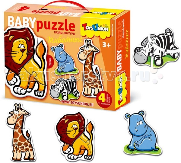 ToysUnion Пазл Животные 4 пазла, 11 элементовПазл Животные 4 пазла, 11 элементовПазл TOYSUNION 00-603 Животные 4 пазла, 11 эл.  Это увлекательная игра-головоломка, помогающая развивать у ребенка воображение, пространственное восприятие, память. Собирая картинку, ребенок учится терпению, усидчивости, умению концентрировать внимание, доводить начатое дело до конца.  Соединение деталей развивает мелкую моторику рук и наглядно-образное мышление. Яркие и добрые картинки, крупные до 17 см детали, выполненные из высококачественного и экологически чистого материала, доставят Вашему ребенку радость и помогут познать окружающий мир.<br>