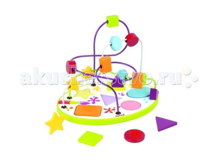 Деревянная игрушка Janod Сортер-лабиринт Геометрические фигурыСортер-лабиринт Геометрические фигурыСортер-лабиринт Геометрические фигуры от 1,5 лет. Игрушка представляет собой лабиринт с разноцветными геометрическими фигурами.   Все элементы яркого и познавательного набора выполнены из дерева.   Эта игрушка многофункциональна. Играя, ребенок повторяет основные цвета, формы, учится обобщать, считать и сортировать.  Игрушка упакована в красивую подарочную коробку.  Вес: 0,9 кг<br>