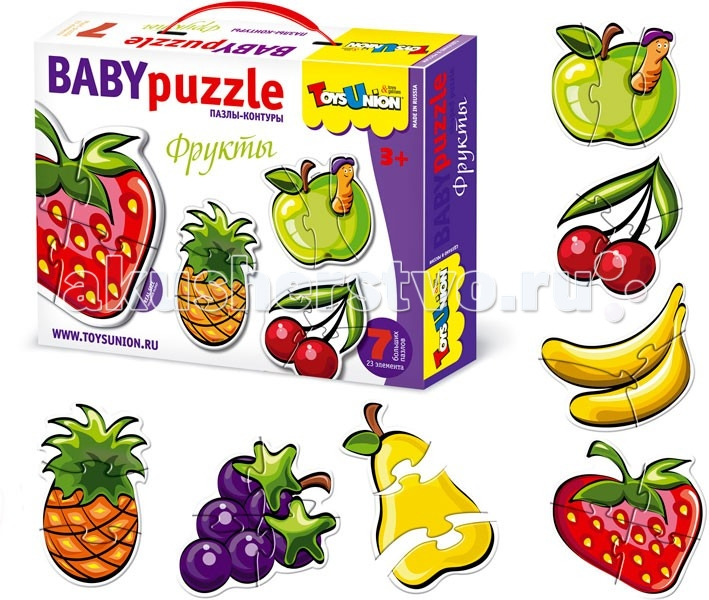 ToysUnion Пазл Фрукты 7 пазлов, 23 элементаПазл Фрукты 7 пазлов, 23 элементаПазл TOYSUNION 00-608 Фрукты 7 пазлов, 23 эл.  Пазлы – это отличная развивающая игрушка, с одной стороны, а, с другой стороны, это отличный способ совместного семейного времяпрепровождения с вашим ребенком Пазлы-контуры Фрукты отлично подойдет даже для самых маленьких  Упаковка: картонная коробка  Возраст: от 3 лет.<br>