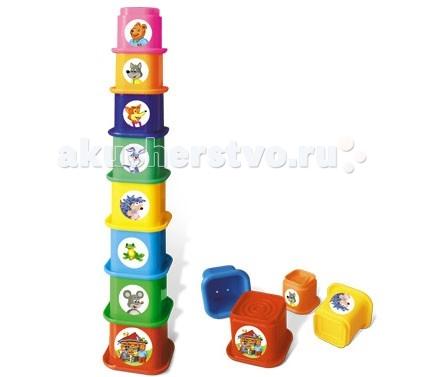 Развивающая игрушка Стеллар Пирамида ТеремокПирамида ТеремокРазвивающая игрушка Стеллар Пирамида Теремок из квадратных разноцветных стаканчиков с различным рисунком рельефа на дне и дырочками для воды. На каждом из стаканчиков - наклейка, иллюстрирующая сказку Теремок. Таким образом, собирая вместе с мамой пирамидку, малыш будет слушать мамину сказку, и волей-неволей запоминать ее, а вскоре - и подсказывать.  Когда малыш собирает пирамидку, он совершенствует свою мелкую моторику, координацию движений, развивает логическое мышление, а также учится различать цвета и адекватно воспринимать форму и размеры предмета.<br>