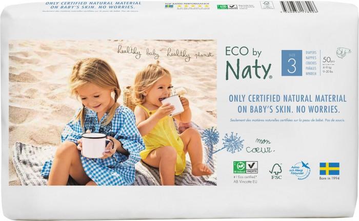 Naty Подгузники Размер 3 (4-9 кг) 52 шт.Подгузники Размер 3 (4-9 кг) 52 шт.Подгузники Eco Nature Babycare Naty midi, 4-9 кг 3 размер 52 шт.  Naty – один из самых продающихся эко продуктов в мире. Эко подгузники состоят из 100% природного материала. Верхний и внутренний абсорбирующий слой изготовлен из целлюлозы, защитный слой - из кукурузной пленки. Подгузники естественно дышат. Эксклюзивная целлюлоза произведена из древесины экологически чистых скандинавских лесов, выращиваемых на основе долгосрочного лесоводства, не содержит хлора и аллергенов.   Система быстрого впитывания обеспечивает малышу сухость и комфорт. Запатентованный дизайн складочек - позволяет им надежно прилегать к ножке малыша. Естественно дышащие Без добавления хлора и ароматизаторов Пленка на основе кукурузного крахмала без ГМО Натуральные и возобновляемые материалы.<br>