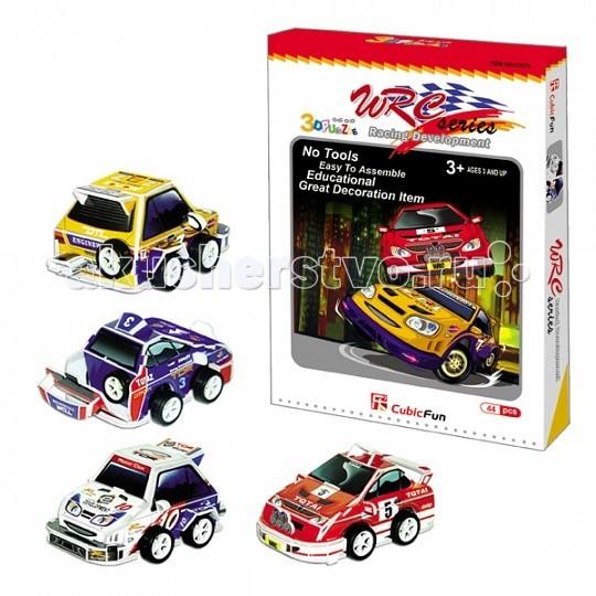 CubicFun Гоночные машины 4 шт.Гоночные машины 4 шт.Cubic Fun C037h Кубик фан Гоночные машины (набор 4 машины).  Чемпионат мира по ралли (англ. World Rally Championship, WRC) — раллийная серия, проводимая Международной автомобильной федерацией.  Собери свой автомобиль для участия в раллийных гонках.   Уровень сложности - 2.   Функции: - помогает в развитии логики и творческих способностей ребенка - помогает в формировании мышления, речи, внимания, восприятия и воображения - развивает моторику рук - расширяет кругозор ребенка и стимулирует к познанию новой информации.  Практические характеристики: - обучающая, яркая и реалистичная модель - идеально и легко собирается без инструментов - увлекательный игровой процесс - тематический ассортимент - новый качественный материал (ламинированный пенокартон).<br>
