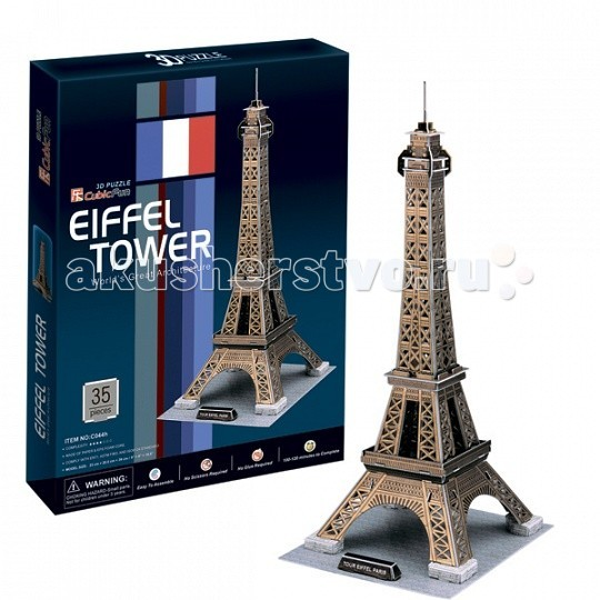 Конструктор CubicFun 3D пазл Эйфелева Башня (Франция)3D пазл Эйфелева Башня (Франция)CubicFun 3D пазл Эйфелева Башня (Франция).  Башня является самой узнаваемой архитектурной достопримечательностью Парижа, имеет мировую известность как символ Франции.  Названа в честь своего конструктора Густава Эйфеля.  Уровень сложности - 3.  Функции: - помогает в развитии логики и творческих способностей ребенка - помогает в формировании мышления, речи, внимания, восприятия и воображения - развивает моторику рук - расширяет кругозор ребенка и стимулирует к познанию новой информации.  Практические характеристики: - обучающая, яркая и реалистичная модель - идеально и легко собирается без инструментов - увлекательный игровой процесс - тематический ассортимент - новый качественный материал (ламинированный пенокартон).<br>