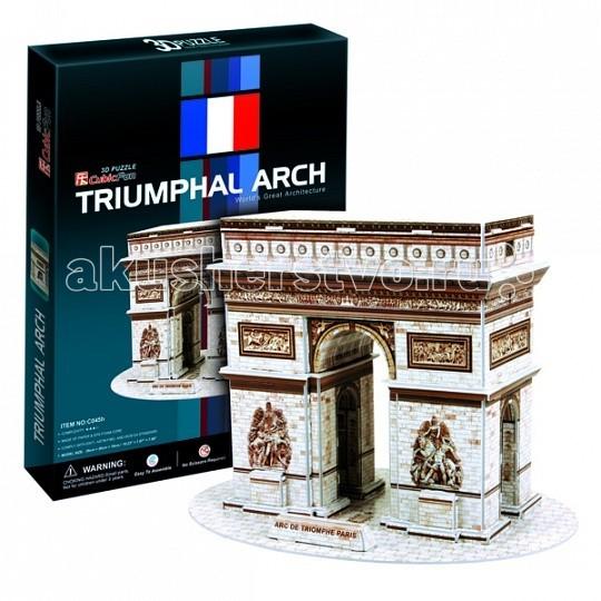 Конструктор CubicFun 3D пазл Триумфальная арка (Франция)3D пазл Триумфальная арка (Франция)3D пазл Триумфальная арка (Франция)  Серия шедевры мировой архитектуры Триумфальная арка (Париж).  Знаменитая триумфальная арка, расположенная на площади Шарля де Голля, в верхней части Елисейских полей.  Во время строительства она находилась за чертой города.  Сооружена она была в 1806—1836 годах по распоряжению Наполеона архитектором Жаном Шальгреном.  Уровень сложности - 3.  Функции: - помогает в развитии логики и творческих способностей ребенка - помогает в формировании мышления, речи, внимания, восприятия и воображения - развивает моторику рук - расширяет кругозор ребенка и стимулирует к познанию новой информации.  Практические характеристики: - обучающая, яркая и реалистичная модель - идеально и легко собирается без инструментов - увлекательный игровой процесс - тематический ассортимент - новый качественный материал (ламинированный пенокартон).<br>