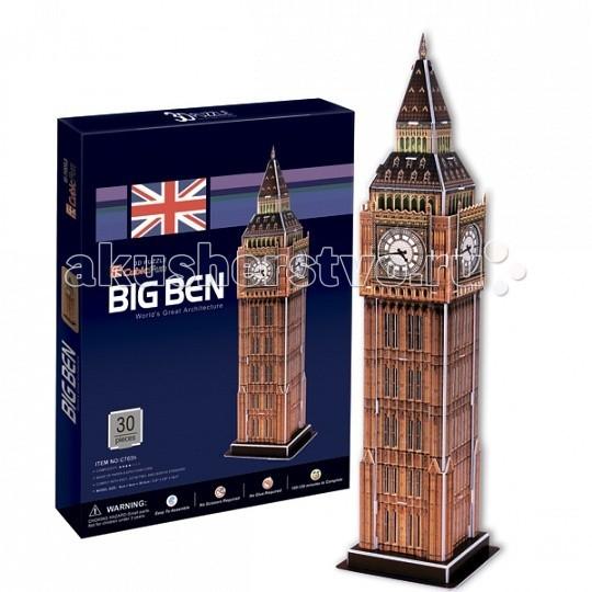 Конструктор CubicFun 3D пазл Биг бен 2 (Великобритания)3D пазл Биг бен 2 (Великобритания)CubicFun 3D пазл Биг бен 2 (Великобритания).  Биг-Бен — колокольная башня в Лондоне. Официальное наименование — «Часовая башня Вестминстерского дворца», также её называют «Башней Св. Стефана».   Башня была возведена в 1858 году, башенные часы были пущены в ход 21 мая 1859 года. Высота башни 61 метр (не считая шпиля); часы располагаются на высоте 55 м от земли. При диаметре циферблата в 7 метров и длиной стрелок в 2,7 и 4,2 метра, часы долгое время считались самыми большими в мире.  Биг-Бен стал одним из самых узнаваемых символов Великобритании, часто используемых в рекламе, фильмах и т. п.   Уровень сложности - 3.   Функции: - помогает в развитии логики и творческих способностей ребенка - помогает в формировании мышления, речи, внимания, восприятия и воображения - развивает моторику рук - расширяет кругозор ребенка и стимулирует к познанию новой информации.  Практические характеристики: - обучающая, яркая и реалистичная модель - идеально и легко собирается без инструментов - увлекательный игровой процесс - тематический ассортимент - новый качественный материал (ламинированный пенокартон).<br>