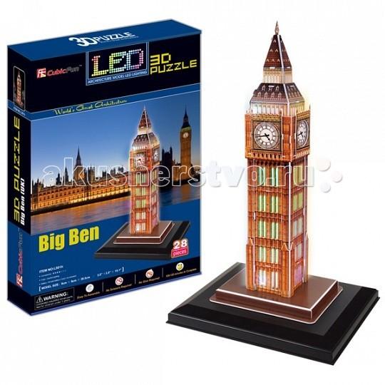 Конструктор CubicFun 3D пазл Биг бен с иллюминацией (Великобритания)3D пазл Биг бен с иллюминацией (Великобритания)CubicFun 3D пазл Биг бен с иллюминацией (Великобритания).  Биг-Бен — колокольная башня в Лондоне. Официальное наименование — «Часовая башня Вестминстерского дворца», также её называют «Башней Св. Стефана».   Башня была возведена в 1858 году, башенные часы были пущены в ход 21 мая 1859 года. Высота башни 61 метр (не считая шпиля); часы располагаются на высоте 55 м от земли. При диаметре циферблата в 7 метров и длиной стрелок в 2,7 и 4,2 метра, часы долгое время считались самыми большими в мире.  Биг-Бен стал одним из самых узнаваемых символов Великобритании.  Уровень сложности - 4.  Функции: - помогает в развитии логики и творческих способностей ребенка - помогает в формировании мышления, речи, внимания, восприятия и воображения - развивает моторику рук - расширяет кругозор ребенка и стимулирует к познанию новой информации.  Практические характеристики: - обучающая, яркая и реалистичная модель - идеально и легко собирается без инструментов - увлекательный игровой процесс - тематический ассортимент - новый качественный материал (ламинированный пенокартон).<br>