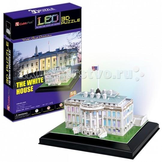 Конструктор CubicFun 3D пазл Белый дом с иллюминацией (США)3D пазл Белый дом с иллюминацией (США)CubicFun 3D пазл Белый дом с иллюминацией (США).  В течение 200 лет Белый дом стоял как символ Президентства, правительства Соединенных Штатов, и американских людей. Его история началась, когда Президент Джордж Вашингтон подписал постановление конгресса в декабре 1790 года.   Уровень сложности - 4.  Функции: - помогает в развитии логики и творческих способностей ребенка - помогает в формировании мышления, речи, внимания, восприятия и воображения - развивает моторику рук - расширяет кругозор ребенка и стимулирует к познанию новой информации.  Практические характеристики: - обучающая, яркая и реалистичная модель - идеально и легко собирается без инструментов - увлекательный игровой процесс - тематический ассортимент - новый качественный материал (ламинированный пенокартон).<br>