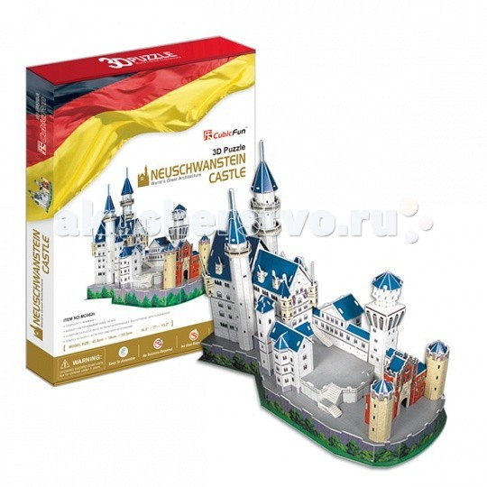 Конструктор CubicFun 3D пазл Замок Нойшванштайн (Германия)3D пазл Замок Нойшванштайн (Германия)CubicFun 3D пазл Замок Нойшванштайн (Германия).  Видом Нойшванштайна был очарован П.И.Чайковский — и именно здесь, как полагают историки, у него родился замысел балета «Лебединое озеро».   Замок Нойшванштайн, буквально: «Новый лебединый утес» — замок XIX века в баварских Альпах, около городка Фюссен и Замка Хоэншвангау, недалеко от австрийской границы.  Уровень сложности - 5.  Функции: - помогает в развитии логики и творческих способностей ребенка - помогает в формировании мышления, речи, внимания, восприятия и воображения - развивает моторику рук - расширяет кругозор ребенка и стимулирует к познанию новой информации.  Практические характеристики: - обучающая, яркая и реалистичная модель - идеально и легко собирается без инструментов - увлекательный игровой процесс - тематический ассортимент - новый качественный материал (ламинированный пенокартон).<br>
