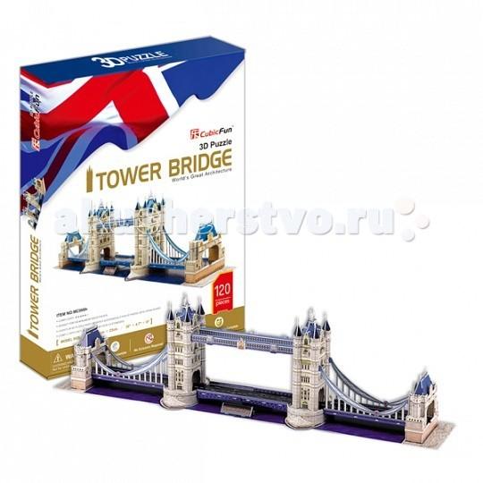 Конструктор CubicFun 3D пазл Тауэрский Мост (Великобритания)3D пазл Тауэрский Мост (Великобритания)CubicFun 3D пазл Тауэрский Мост (Великобритания).  Тауэрский мост — разводной мост в центре Лондона над рекой Темзой, недалеко от Лондонского Тауэра. Иногда его путают с Лондонским мостом, расположенным выше по течению.  Открыт в 1894 году. Также является одним из символов Британии.  Уровень сложности - 5.  Функции: - помогает в развитии логики и творческих способностей ребенка - помогает в формировании мышления, речи, внимания, восприятия и воображения - развивает моторику рук - расширяет кругозор ребенка и стимулирует к познанию новой информации.  Практические характеристики: - обучающая, яркая и реалистичная модель - идеально и легко собирается без инструментов - увлекательный игровой процесс - тематический ассортимент - новый качественный материал (ламинированный пенокартон).<br>