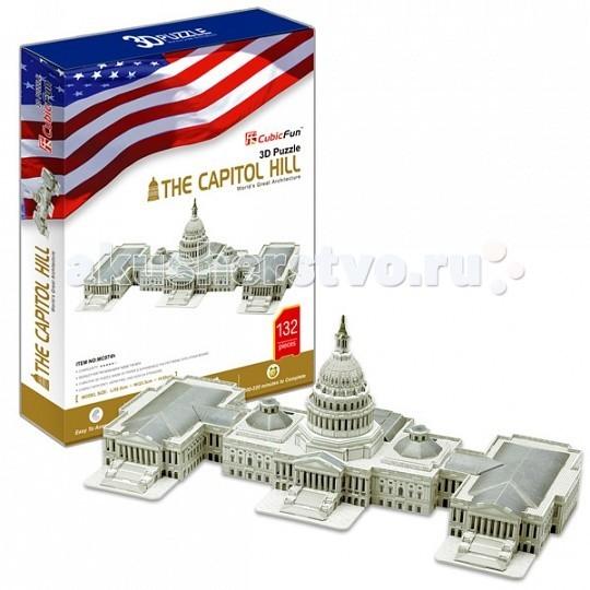 Конструктор CubicFun 3D пазл Капитолий (США)3D пазл Капитолий (США)CubicFun 3D пазл Капитолий (США).  Капитолий — местопребывание Конгресса США на Капитолийском холме в Вашингтоне, идейно-градостроительный центр округа Колумбия. Соединяется с Монументом Вашингтона и Монументом Линкольна 1800-метровой Национальной аллеей. К востоку от парламентского центра раскинулись Библиотека Конгресса и резиденция Верховного суда США.  Уровень сложности - 5.  Функции: - помогает в развитии логики и творческих способностей ребенка - помогает в формировании мышления, речи, внимания, восприятия и воображения - развивает моторику рук - расширяет кругозор ребенка и стимулирует к познанию новой информации.  Практические характеристики: - обучающая, яркая и реалистичная модель - идеально и легко собирается без инструментов - увлекательный игровой процесс - тематический ассортимент - новый качественный материал (ламинированный пенокартон).<br>