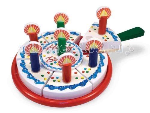 Деревянная игрушка Melissa &amp; Doug Готовь и играй День рожденияГотовь и играй День рожденияДеревянная игрушка Melissa & Doug Готовь и играй День рождения - поможет Вашему малышу обычный день превратить в настоящий праздник.   Устройте праздник с тортом, разрежьте его на несколько частей, поставьте свечи и угостите друзей.  В этот красочный набор входит 34 части: круглый поднос для торта, шесть готовых кусочков торта, различные украшения, съемные свечи, лопаточка и нож.   Все аккуратно хранится в деревянном ящике.   Разрезание торта сопровождается соответствующим звуковым эффектом.<br>